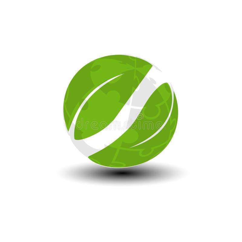Παγκόσμιο εικονίδιο από το γρίφο Πράσινο σύμβολο γης και φύλλων πηγαίνετε πράσινος ανακύκ Σύμβολο φύσης απεικόνιση αποθεμάτων
