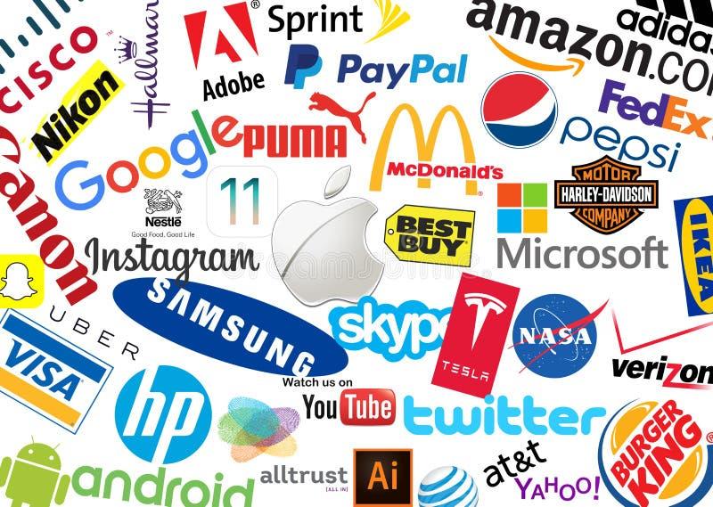 Παγκόσμιο εμπορικό σήμα Logotypes διανυσματική απεικόνιση