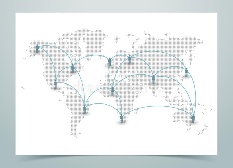 Παγκόσμιο διαστιγμένο χάρτης διάνυσμα με τις συνδέσεις ελεύθερη απεικόνιση δικαιώματος