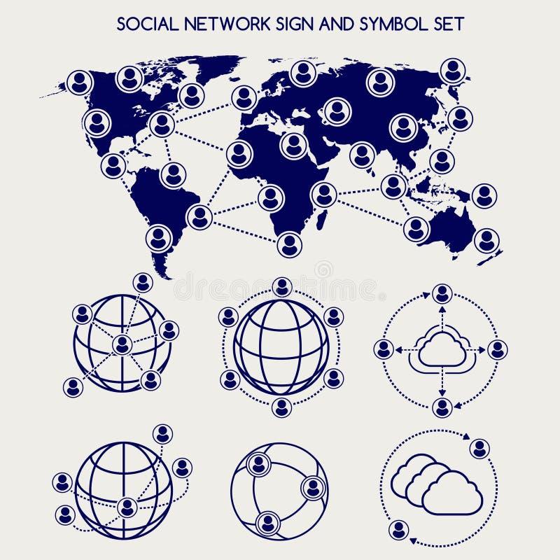 Παγκόσμιο κοινωνικά δίκτυο και σύνολο συμβόλων απεικόνιση αποθεμάτων