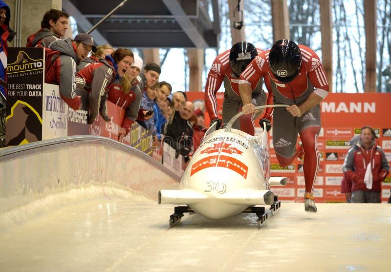 Παγκόσμιο Κύπελλο σκελετών FIBT Viessmann Bobsleigh @ στοκ φωτογραφία