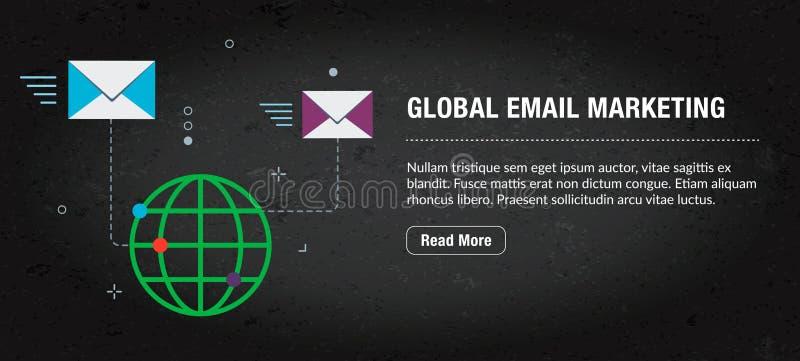 Παγκόσμιο μάρκετινγκ ηλεκτρονικού ταχυδρομείου, έμβλημα Διαδίκτυο με τα εικονίδια στο διάνυσμα διανυσματική απεικόνιση