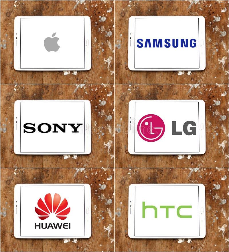 Παγκόσμιο μήλο εμπορικών σημάτων smartphone και τεχνολογίας, Samsung, Sony, LG, huawei, htc απεικόνιση αποθεμάτων