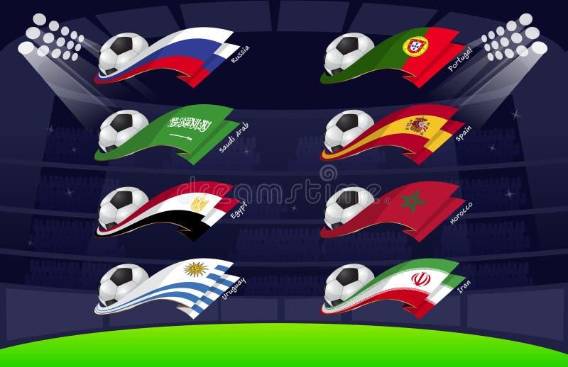 Παγκόσμιο ποδόσφαιρο σημαιών 2018 Vol1 ελεύθερη απεικόνιση δικαιώματος