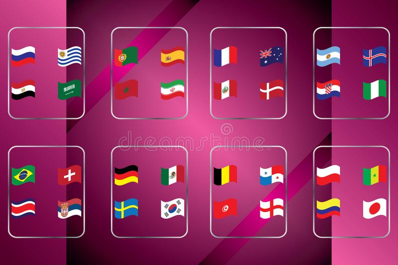 Παγκόσμιο πρωτάθλημα Διανυσματικές σημαίες της χώρας 2018 στη Ρωσία ελεύθερη απεικόνιση δικαιώματος