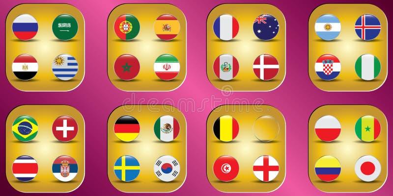 Παγκόσμιο πρωτάθλημα Διανυσματικές σημαίες της χώρας 2018 στη Ρωσία διανυσματική απεικόνιση