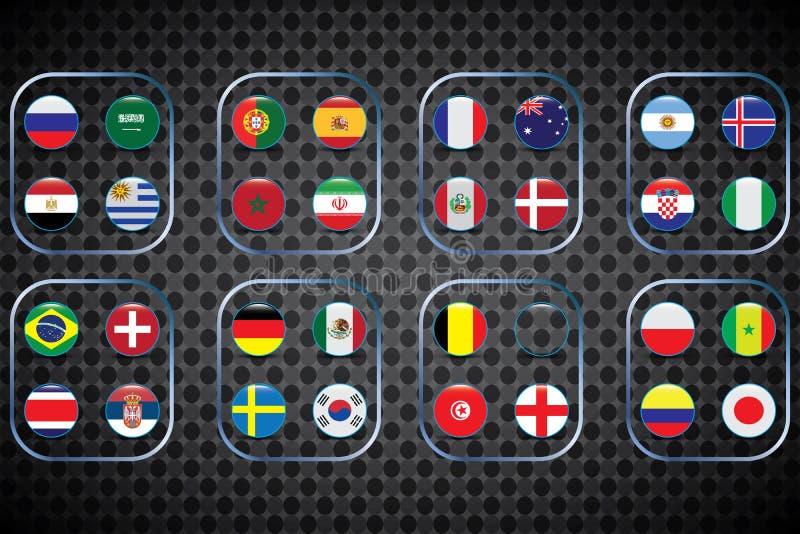 Παγκόσμιο πρωτάθλημα Διανυσματικές σημαίες της χώρας 2018 στη Ρωσία απεικόνιση αποθεμάτων
