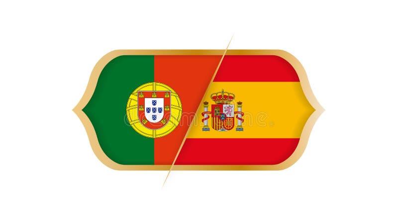 Παγκόσμιο πρωτάθλημα Πορτογαλία ποδοσφαίρου εναντίον της Ισπανίας επίσης corel σύρετε το διάνυσμα απεικόνισης απεικόνιση αποθεμάτων