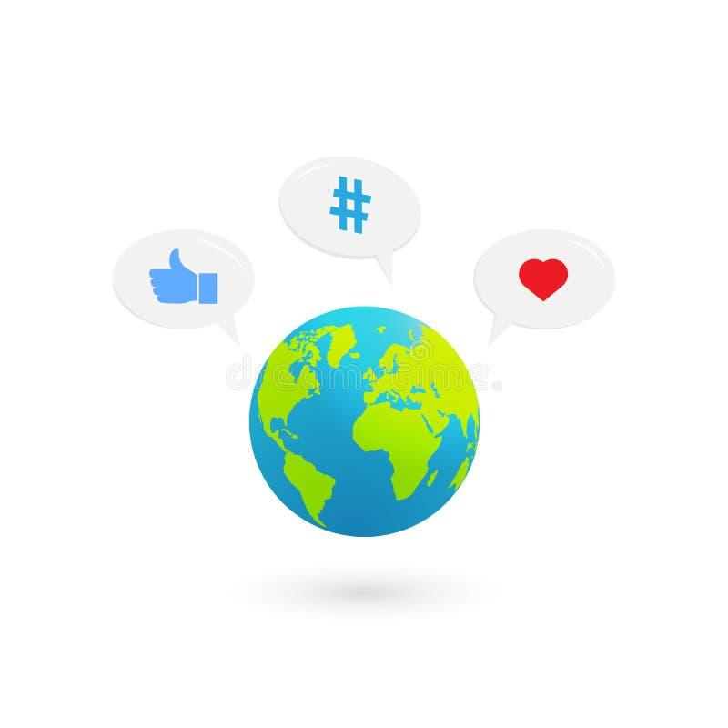Παγκόσμιο σχέδιο με τα κοινωνικά εικονίδια μέσων απεικόνιση αποθεμάτων