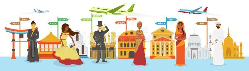 παγκόσμιο ταξίδι, απεικόνιση σκιαγραφιών ορόσημων ελεύθερη απεικόνιση δικαιώματος