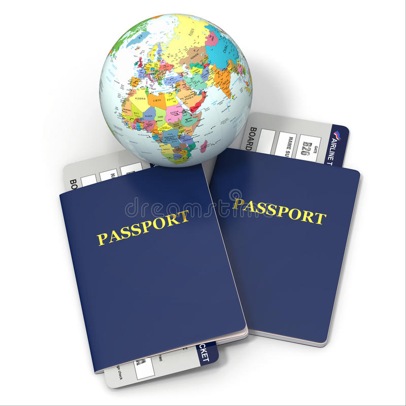 Παγκόσμιο ταξίδι. Γη, εισιτήρια αερογραμμών και διαβατήριο. τρισδιάστατος απεικόνιση αποθεμάτων