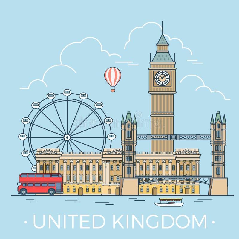 Παγκόσμιο ταξίδι στο Ηνωμένο Βασίλειο Γραμμικό επίπεδο διάνυσμα απεικόνιση αποθεμάτων
