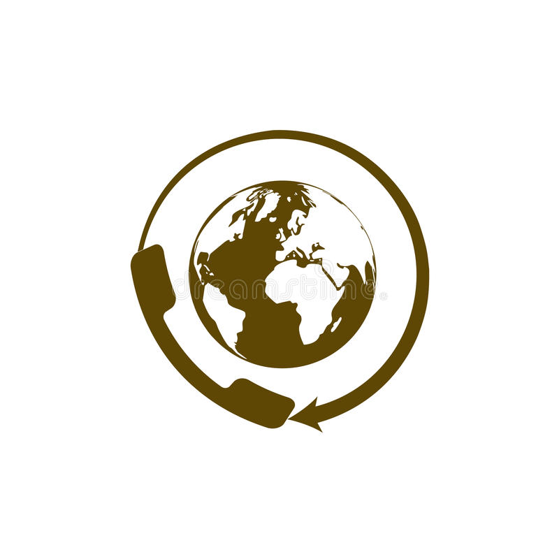 Παγκόσμιο τηλεφωνικό κέντρο υποστήριξης πελατών Επίπεδο εικονίδιο διανυσματική απεικόνιση