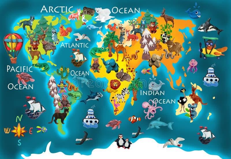 Παγκόσμιων ζώων τρισδιάστατος χάρτης παιδιών plasticine ζωηρόχρωμος απεικόνιση αποθεμάτων