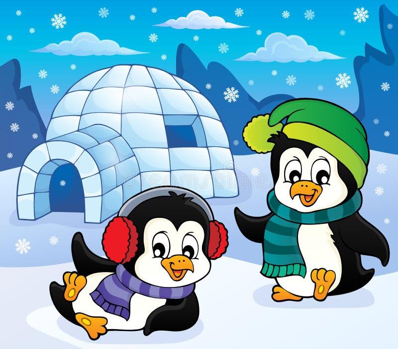 Παγοκαλύβα με το θέμα 5 penguins ελεύθερη απεικόνιση δικαιώματος