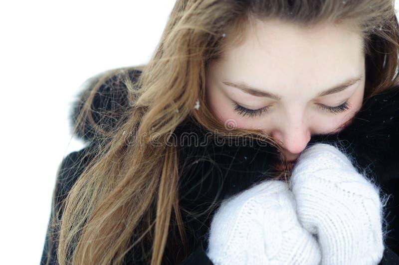 παγωμένη γυναίκα στοκ φωτογραφίες