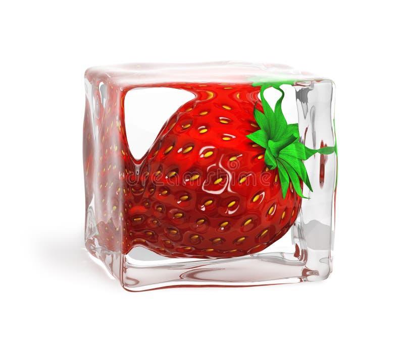 παγωμένη κύβος φράουλα πάγ& ελεύθερη απεικόνιση δικαιώματος