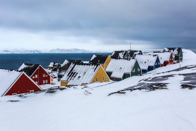 Παγωμένη οδός στο φιορδ Νουούκ, Γροιλανδία στοκ φωτογραφίες