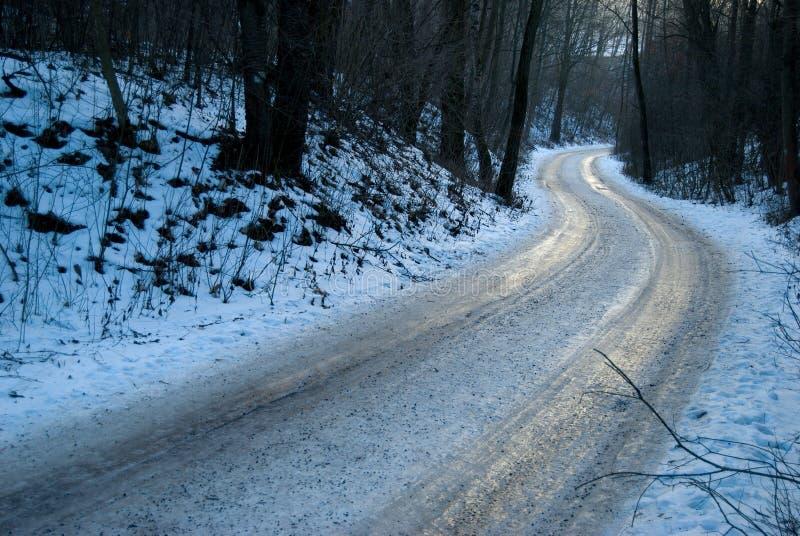 Παγωμένος παγωμένος δρόμος στο χειμερινό δάσος στοκ φωτογραφία