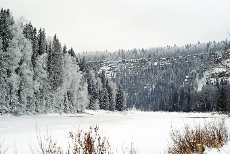 Παγωμένος χειμώνας ποταμός με τους απότομους βράχους σε μια δασώδη ακτή στοκ εικόνες