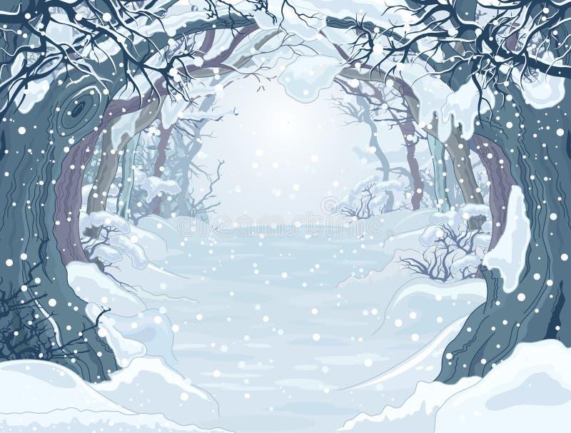 Παγωμένο δάσος ελεύθερη απεικόνιση δικαιώματος
