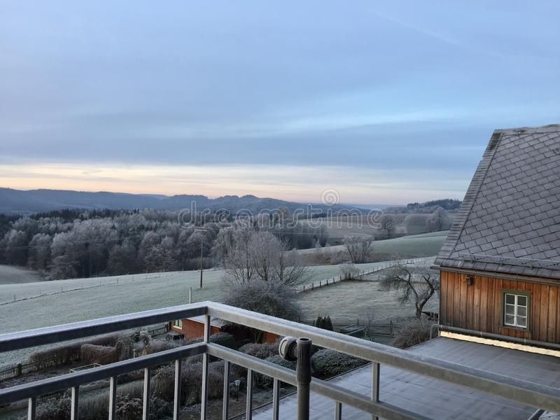 Παγωμένο απόγευμα στη σαξονική Ελβετία στοκ φωτογραφία με δικαίωμα ελεύθερης χρήσης