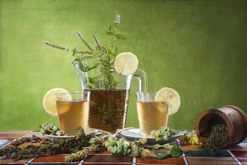 Παγωμένο τσάι μεντών με τα γυαλιά στοκ φωτογραφία με δικαίωμα ελεύθερης χρήσης