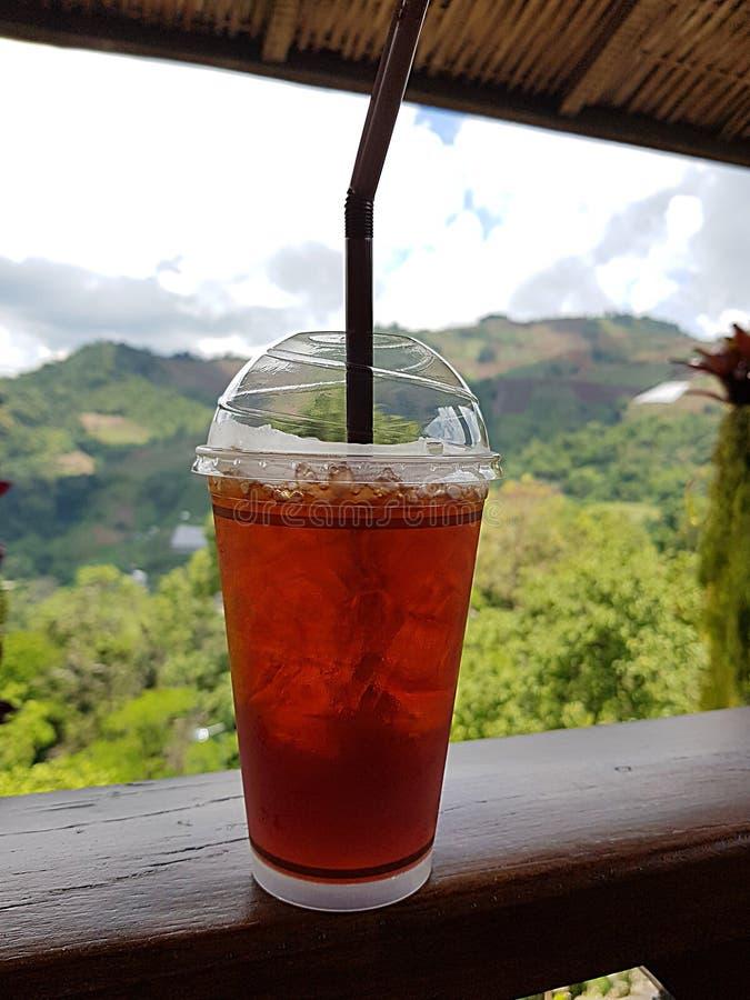 Παγωμένο τσάι στον ξύλινο φράχτη με θέα βουνά στοκ φωτογραφίες