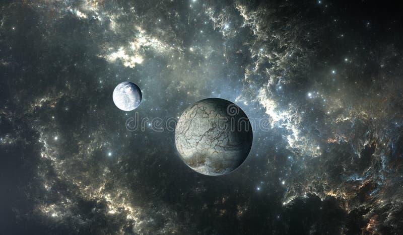 Παγωμένο φεγγάρι του extrasolar πλανήτη με τα αστέρια στο υπόβαθρο νεφελώματος διανυσματική απεικόνιση