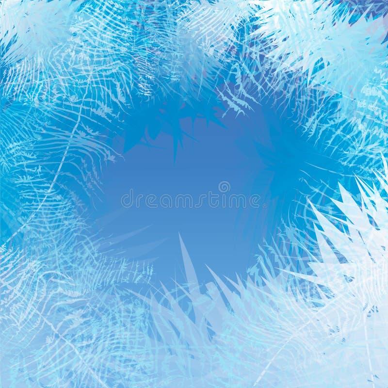 Παγωμένο χειμώνας υπόβαθρο παραθύρων Πάγωμα και αέρας στο γυαλί απεικόνιση αποθεμάτων