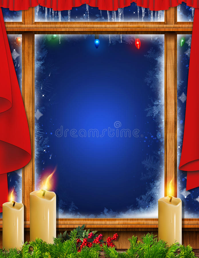 Παγωμένο Χριστούγεννα παράθυρο διακοπών τέχνης υποβάθρου διανυσματική απεικόνιση