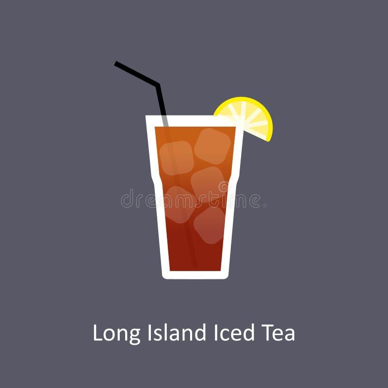 Παγωμένο Long Island εικονίδιο κοκτέιλ τσαγιού στο σκοτεινό υπόβαθρο στο επίπεδο ύφος διανυσματική απεικόνιση