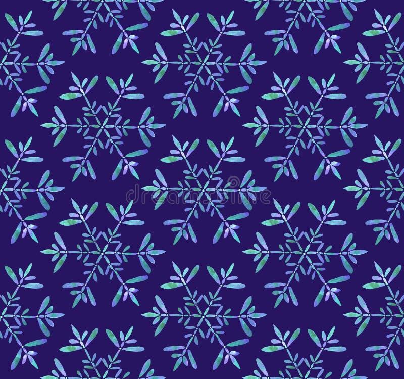 Παγωμένο Snowflakes άνευ ραφής σχέδιο Watercolor απεικόνιση αποθεμάτων