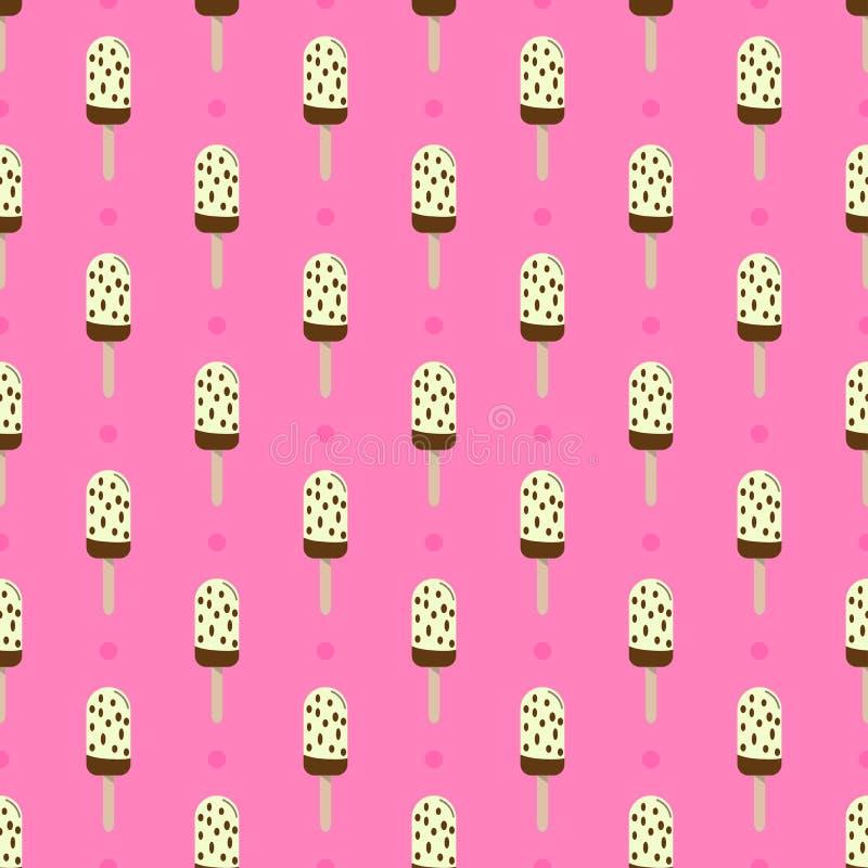 Παγωτό ή popsicle άνευ ραφής αναδρομικό διανυσματικό σχέδιο που διακοσμείται Ζωηρόχρωμη θερινή έρημος - γλειφιτζούρι πάγου φρούτω απεικόνιση αποθεμάτων