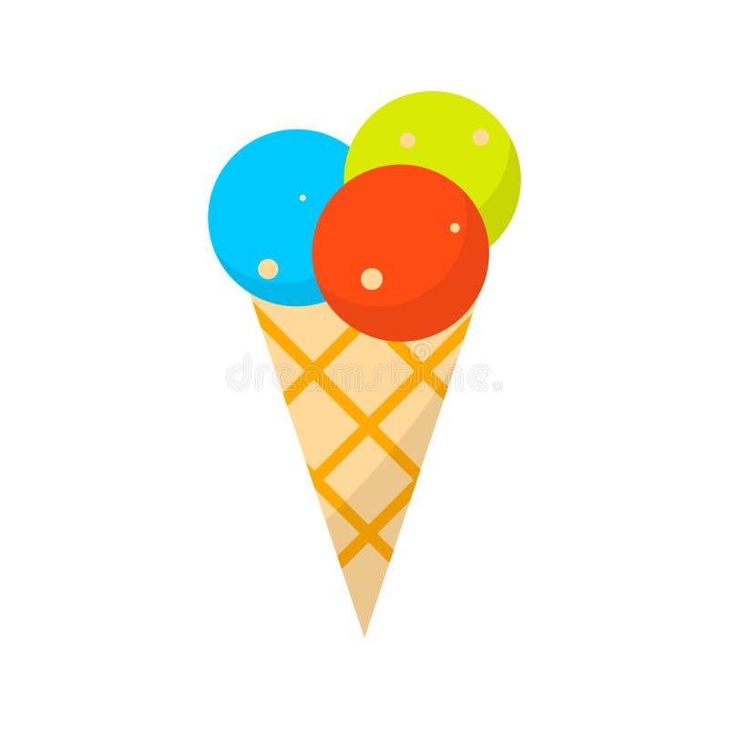 Παγωτό Επίπεδο εικονίδιο καλοκαιρινών διακοπών χρώματος στο άσπρο υπόβαθρο στοκ εικόνες με δικαίωμα ελεύθερης χρήσης