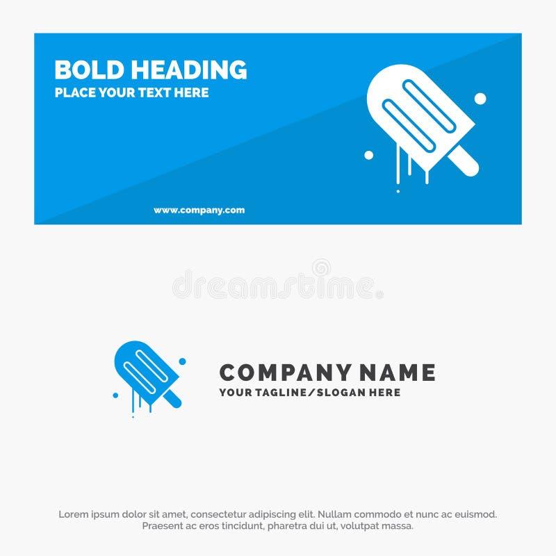 Παγωτό, κρέμα, έμβλημα ιστοχώρου αμερικανικών, αμερικανικών στερεά εικονιδίων και πρότυπο επιχειρησιακών λογότυπων απεικόνιση αποθεμάτων