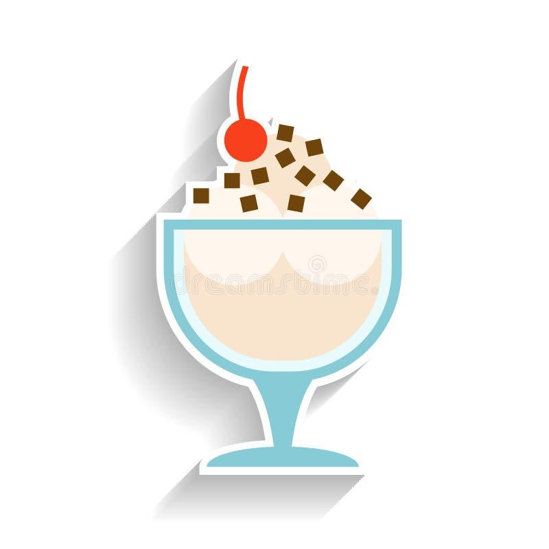 Παγωτό με την κτυπημένα κρέμα, τη σοκολάτα και το κεράσι Επίπεδο εικονίδιο χρώματος, αντικείμενο του γρήγορου φαγητού και πρόχειρ ελεύθερη απεικόνιση δικαιώματος