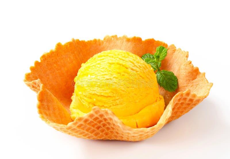 Παγωτό σε ένα κύπελλο γκοφρετών στοκ εικόνες με δικαίωμα ελεύθερης χρήσης