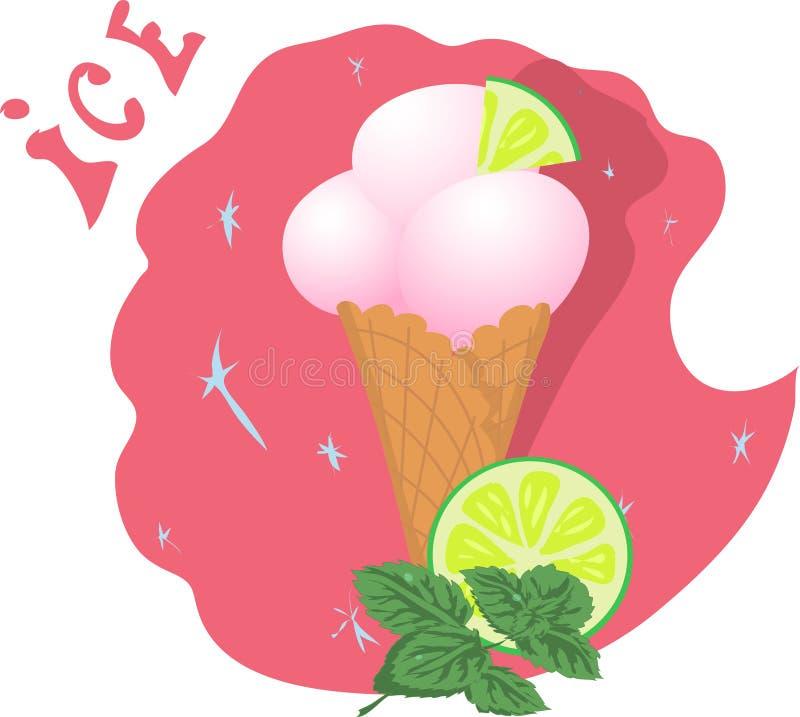 Παγωτό σε ένα φλυτζάνι βαφλών με τον ασβέστη και τη μέντα απεικόνιση αποθεμάτων