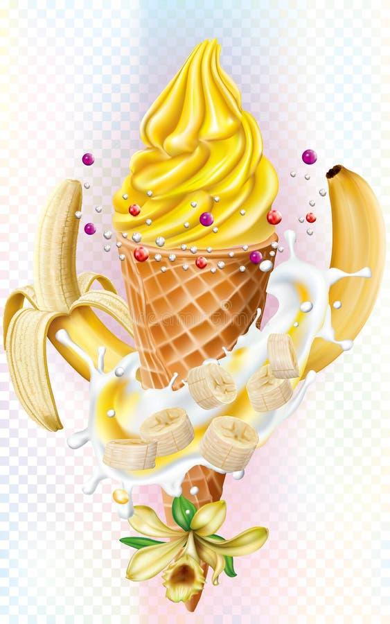 Παγωτό στους κώνους βαφλών με την μπανάνα και τη βανίλια διανυσματική απεικόνιση