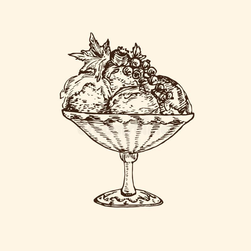 Παγωτό στο φλυτζάνι με τα μούρα στην κορυφή, χέρι που σύρεται doodle, σκίτσο στο λαϊκό ύφος τέχνης απεικόνιση αποθεμάτων