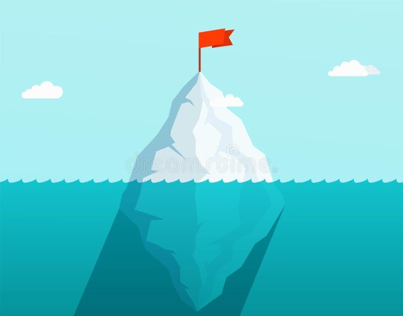 Παγόβουνο στον ωκεανό που επιπλέει στα κύματα θάλασσας με τη κόκκινη σημαία στην κορυφή απεικόνιση αποθεμάτων