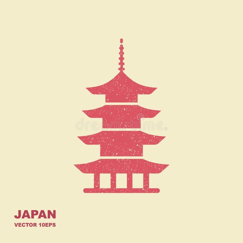 Παγόδα συμβόλων αρχιτεκτονικής της Ιαπωνίας Επίπεδο διανυσματικό εικονίδιο διανυσματική απεικόνιση