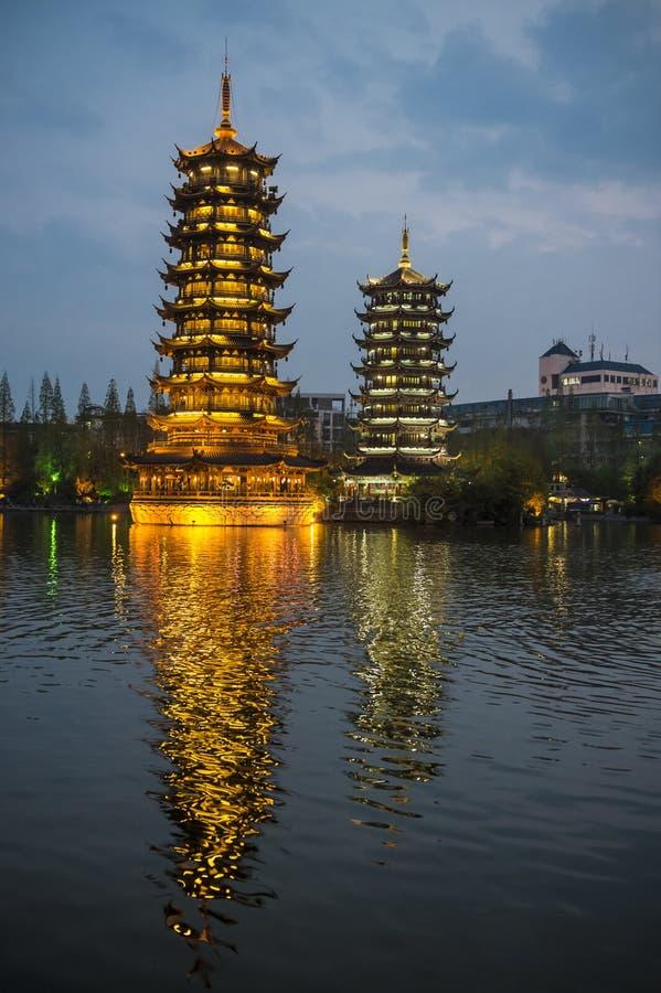 Παγόδες Guilin, Κίνα στοκ εικόνες με δικαίωμα ελεύθερης χρήσης
