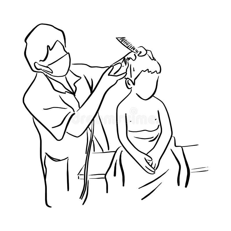 Παιδάκι που παίρνει το κούρεμα στο διανυσματικό illustratio παιδιών barbershop απεικόνιση αποθεμάτων