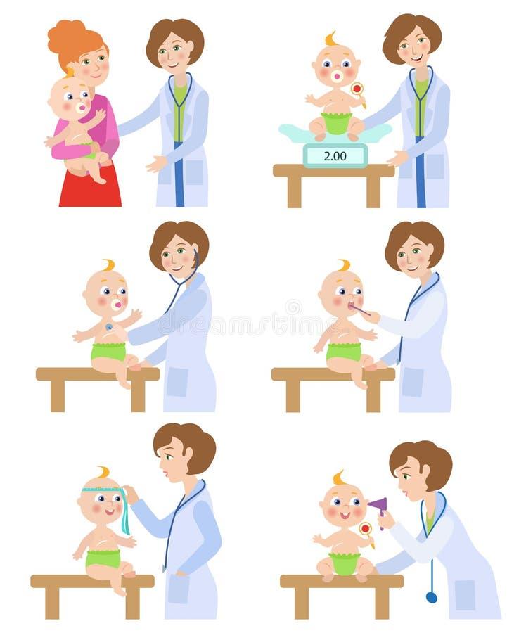 Παιδίατρος, γιατρός που συνεργάζεται με το μωρό, νήπιο διανυσματική απεικόνιση