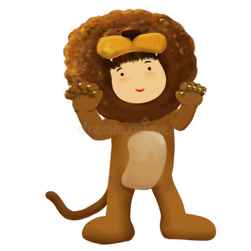 Παιδί λιονταριών, φορέματα αγοριών στο κοστούμι λιονταριών απεικόνιση αποθεμάτων