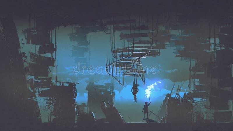 Παιδί με έναν φλεμένος φανό που στέκεται στην παράξενη πόλη διανυσματική απεικόνιση