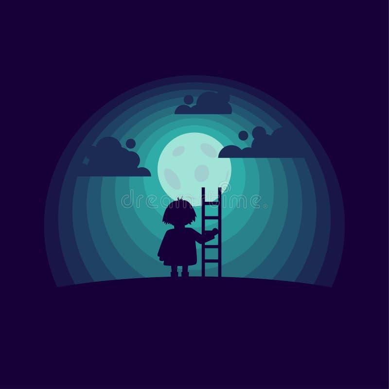 Παιδί με ένα stepladder στο υπόβαθρο φεγγαριών διανυσματική απεικόνιση