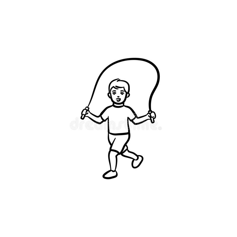 Παιδί με το πηδώντας εικονίδιο περιλήψεων σχοινιών συρμένο χέρι doodle ελεύθερη απεικόνιση δικαιώματος